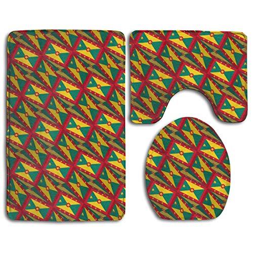 - Bathroom Rug Mats Set 3 Piece Grenada Flag 3D Art Pattern Ultra Soft Non Slip and Absorbent Bath Mat (20