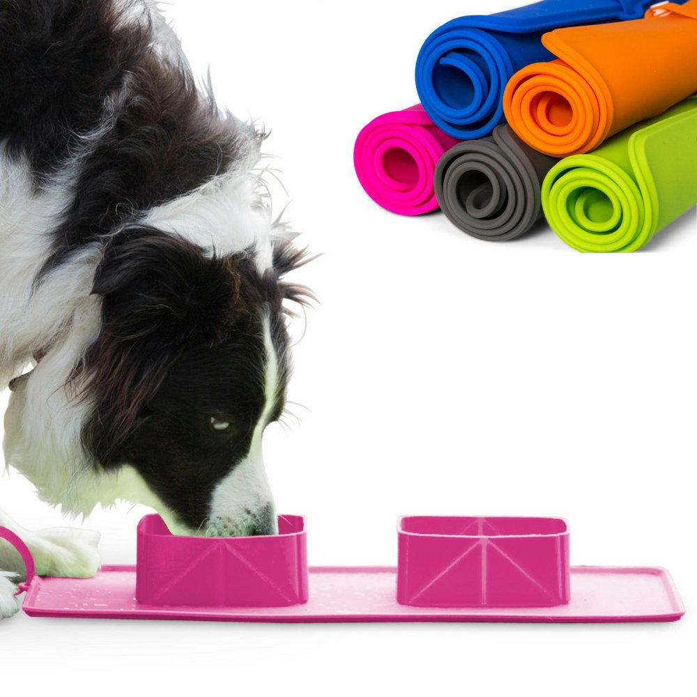 DOUBLE ROLL-UP PET TRAVEL BOWLS AND MAT. Safe, silicone with in-built non-slip water proof mat. Portable and convenient, ideal for dry/wet food and water for dogs or cats. Choose your preferred color!