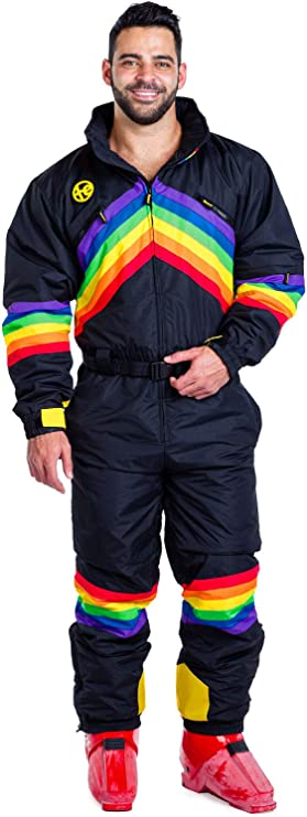 80s Mens Jeans, Pants, Parachute, Tracksuits Mens Midnight Shredder Neon Rainbow Ski Suit - Performance Rainbow Snowsuit Onesie for Guys $199.99 AT vintagedancer.com