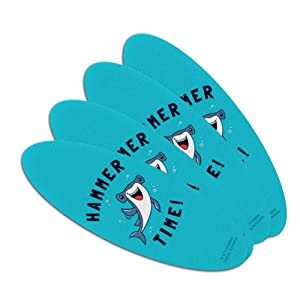 Hammerhead Shark Hammer Time Funny Humor Double-Sided Oval Nail File Emery Board Set 4 Pack