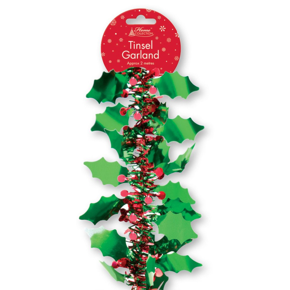 2M LUXURY GREEN HOLLY & RED BERRIES TINSEL GARLAND XMAS CHRISTMAS TREE DECORATION ALANNAHS ACCESSORIES