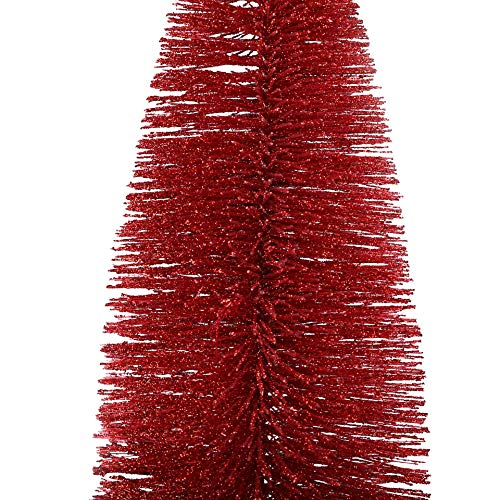 Table Christmas Tree 11.8/9.8/7.8/5.9 Inch Mini Christmas Tree PVC Slim Artificial Christmas Tree Red Tabletop Christmas Tree with Wood Base DIY Ornaments Xmas Decors in Home/Office (C=7.8 Inch) by Smallrabbit (Image #1)