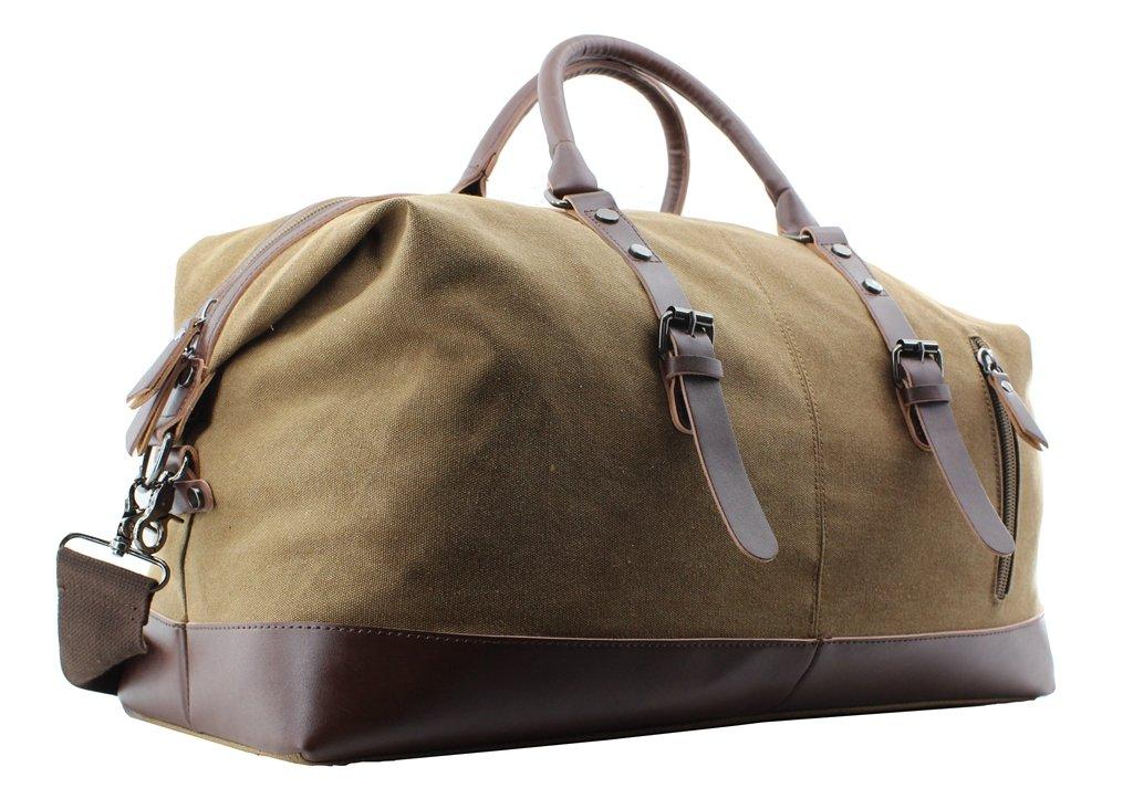 Jiao Miao Overnight Canvas Leather Travel Tote Duffel Shoulder Handbag Bag,170805-brown