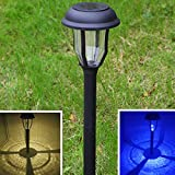 Solar Lights Outdoor Pathway Light 4Pack Set Decorative Garden Stakes Driveway Markers Waterproof Lawn Decorations Bright White Blue Dual Color LED Landscape Lamp for Outside Yard Walkway