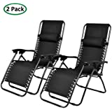 PARTYSAVING Infinity Zero Gravity Outdoor Lounge Patio Folding Reclining Chair Black Set of 2 APL1001