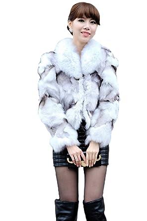 Queenshiny Women's 100% Real Genuine Fox Fur Coat Jacket With Fox ...