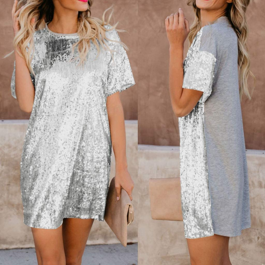 S, Sliver Thenlian Womens Casual Short Sleeve Dresses Fashion Round Neck Sequin Stitching Solid Splice Mini Dress