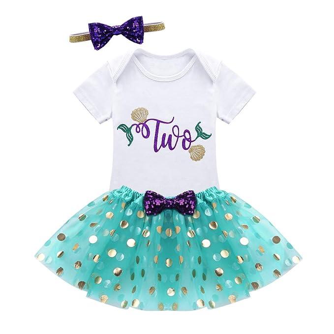 CHICTRY Vestidos de Princesa Fiesta Vestido Cumpleaños Conjunto Pelele Blanco + Falda con Lunares Tutú + Diadema Disfraz Halloween Cosplay para Bebé Niña: ...