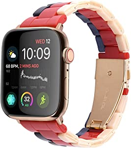 F-wheel Resin Watch Band 42mm 44mm,Compatible with Apple Watch Women Men Series 4/3/2/1 with Stainless Steel Buckle,Compatible with iWatch Replacement Wristband(Blue Red White 42mm)