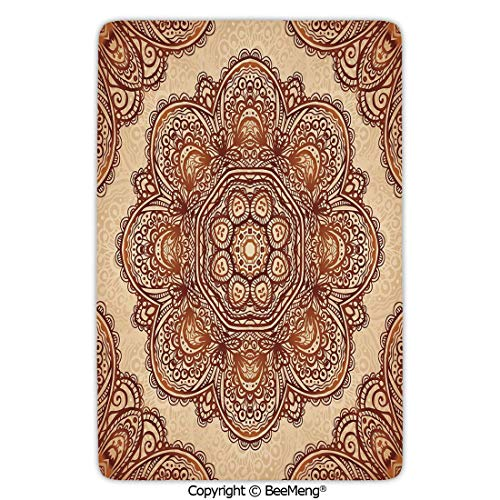 Area Rug for Chair Living Room Mat Non-Slip Soft Entrance Mat Door Floor Rug,Ethnic,Mehndi Style Floral Flower with Abstract Paisley Backdrop Art Print,Light Brown and Dark Brown,24 x 35 in