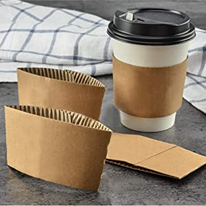 Kraft Paper Hot Cup Sleeve Jacket Holder | Corrugated Cardboard Protective Hot And Cold Insulator | Espresso Coffee Milk Tea Beverage And Hand Protector (Kraft, 1000)
