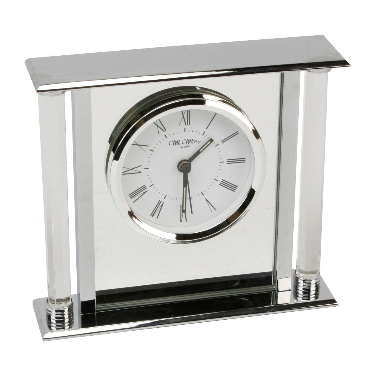 chrome silver colour modern mantel clock with mirror insert