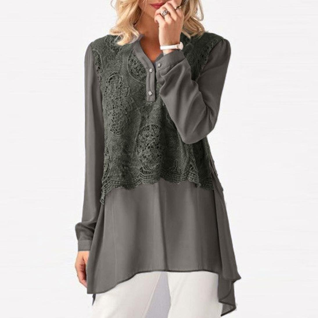 FANOUD Women Casual Solid Lace Patchwork Long Sleeve Chiffon Layered Tops Shirts (M)