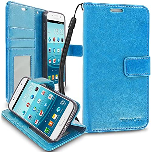 Galaxy S7 Wallet, PROWORX Premium Luxury PU Leather Wallet Flip Protective Case Cover with Card ID Slots & Stand Baby Blue For Samsung Galaxy S7 Sales