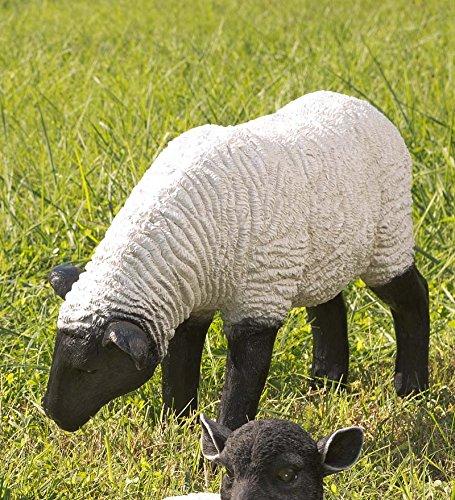 Grazing Suffolk Sheep Resin Garden Statue