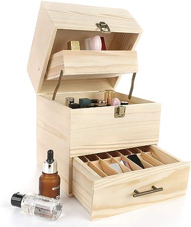 FGASAD - Caja organizadora de madera para aceites esenciales, 3 niveles, 59 compartimentos, caja de almacenamiento para botellas de 5 ml, 10 ml, 15 ml, 30 ml, tubos, accesorios: Amazon.es: Hogar