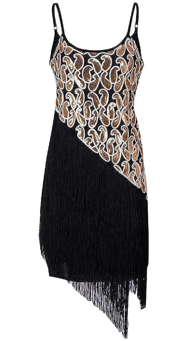 Easonp Womens Modern Fringe Dance Sequin Spaghetti Strap Retro Flapper Dresses