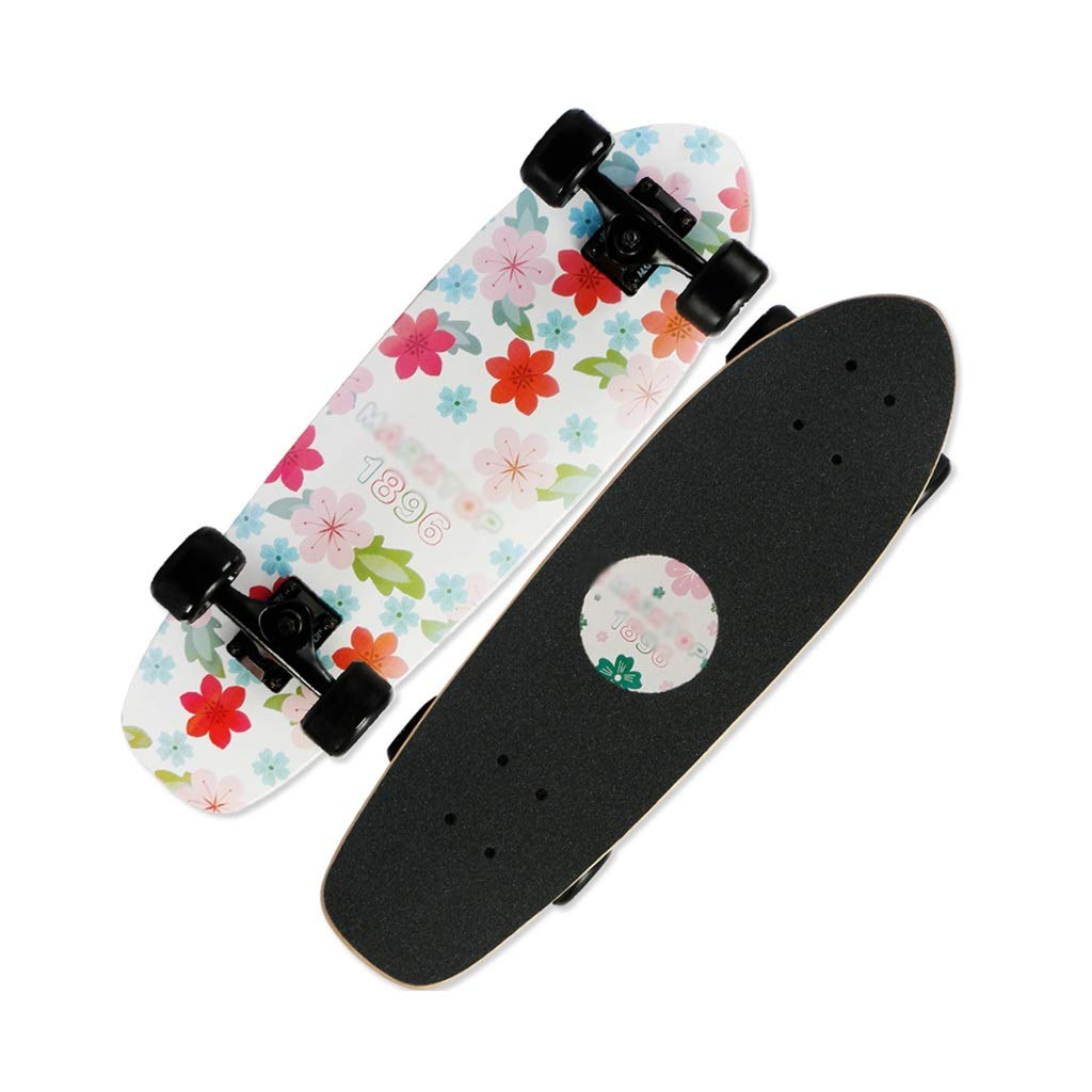 LINGLING-スケートボード 完全なスケートボードブラシストリートスケートボード小さな魚ボードティーン初心者男の子と女の子 - 桜草 Colorful