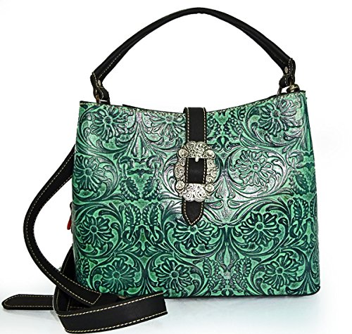 trinity-ranch-tooled-floral-leather-bucket-tote-w-crossbody-strap-blk-tq