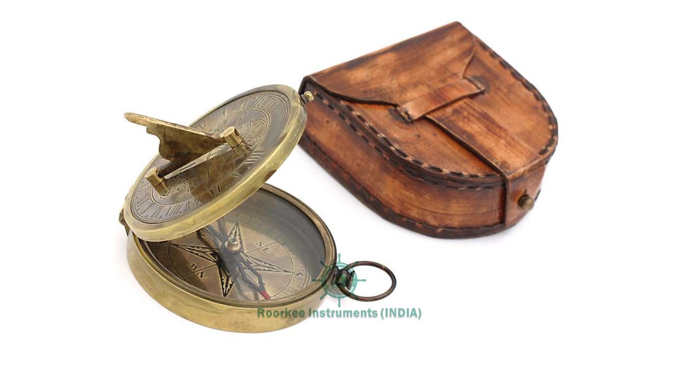 Solid Brass Collectible Sundial Compass with Leather Case/For Him/Housewarming Gift