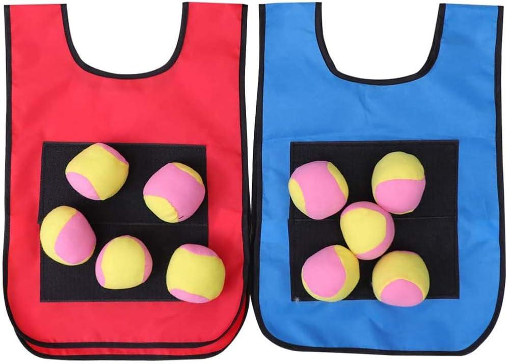 Tomaibaby Chalecos de Juego de Dodgeball con Chaleco de Bolas Adhesivas de Dodgeball para Ni/ños Juego de Actividades Al Aire Libre