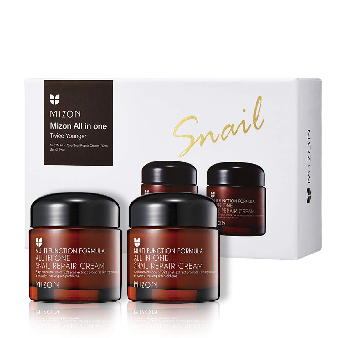 Mizon All In One Snail Repair Cream, Day and Night Face Moisturizer with Snail Mucin Extract (Twice Younger Set, 2.53 Fl Oz (Pack of 2))
