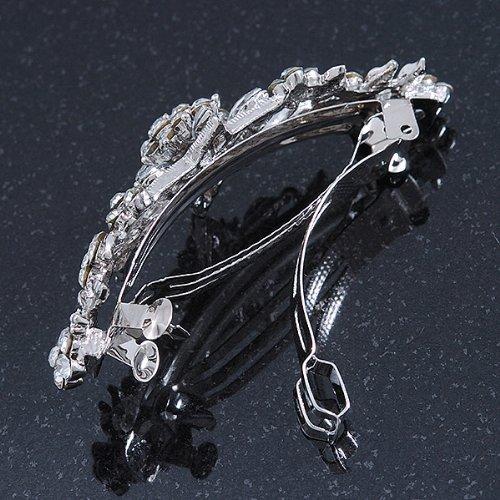 Avalaya Bridal Wedding Prom Silver Tone Diamante Daisy Flower Barrette Hair Clip Grip 85mm Across