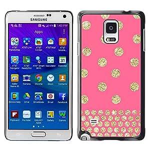 [Neutron-Star] Snap-on Series Teléfono Carcasa Funda Case Caso para Samsung Galaxy Note 4 [Dot rosa del brillo del oro de Bling]