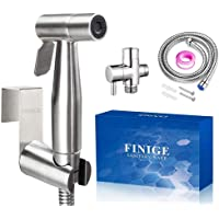 Finige Handheld Bidet Sprayer Kit for Toilet Cloth Diaper Sprayer (Silvery-Stainless Steel)