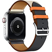 Leather Single Tour Band Strap Replacement Smartwatch Wristband Bracelet Compatible with 40mm Apple Watch Series 4, 38mm Apple Watch Series 3/2/1 (Indigo/Craie/Orange)