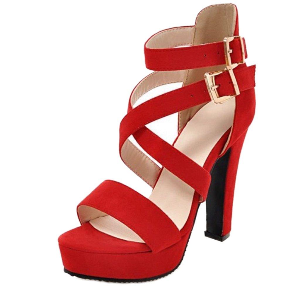 SJJH Damen Fashion Open Toe Sandalen mit Hehem Blockabsatz VzruIR