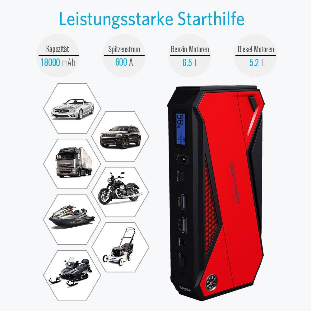 Smartphone Schwarz//Rot Schwarz//Gelb LCD Display und LED Taschen f/ür Laptop Akku Ladeger/ät mit Kompass DBPOWER 600A 18000mAh Tragbare Auto Starthilfe Autobatterie Anlasser
