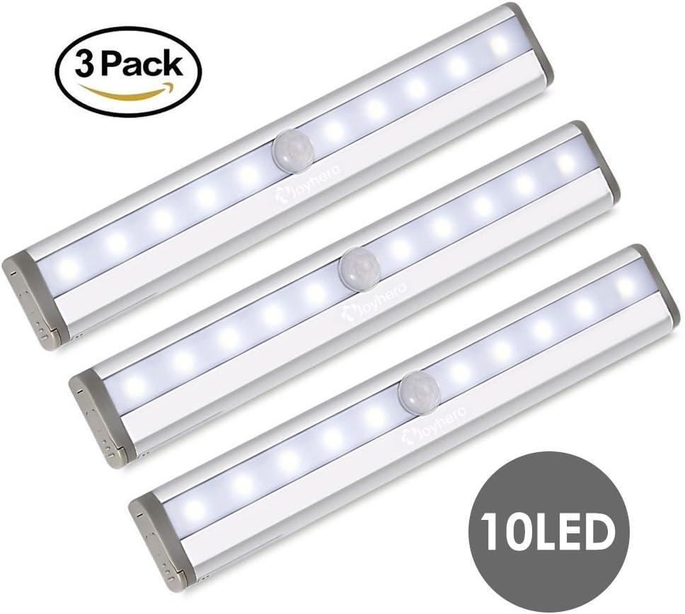 LED Color Blanco Frío Joy Hero iluminación de barrera virtual sin cable con sensor de movimiento, batteriebetriebenes Luz nocturna, LED Lámpara para pared armario, Desván, escaleras, cocina, gabinete, Piso (3 unidades): Amazon.es: