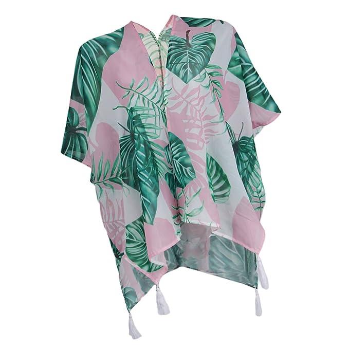 Sharplace Blusa de Chal Vestido Borlas Diseño Kimono Mujer Chifón Casual Bohemio Ropa Atractiva Playera Ropa