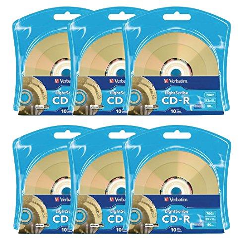 Verbatim 52X CD-R LightScribe Blank Media, 700MB/80min - 60 Pack (6 x 10 Packs) by Produplicator