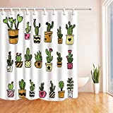 Cactus Decor Shower Curtains By KOTOM Potted Cactus Succulent Pattern Bath Curtains, 72X72 Inches