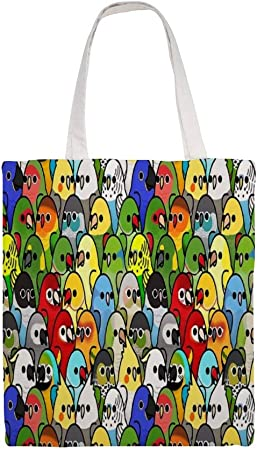 Bolsa de lona de algodón para muchos pájaros. Bolsa de la compra de tela con diseño de escuadrón de pájaros: Amazon.es: Hogar