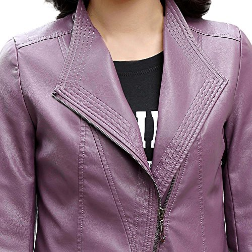 Collar Purple Sexy Overcoat Down Ladies Large MIRRAY Casual Solid Short Womens Winter Sleeve Coats Faux Turn Patchwork Jackets Autumn Long Girls Outerwear Size Leather xnpZnPqRwg