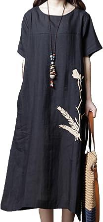 Yulinge Femme Robe Lin Elegant Ete De Coton Des Manches Courtes Chic Vintage Longue Midi Robes De Soiree Amazon Fr Vetements Et Accessoires
