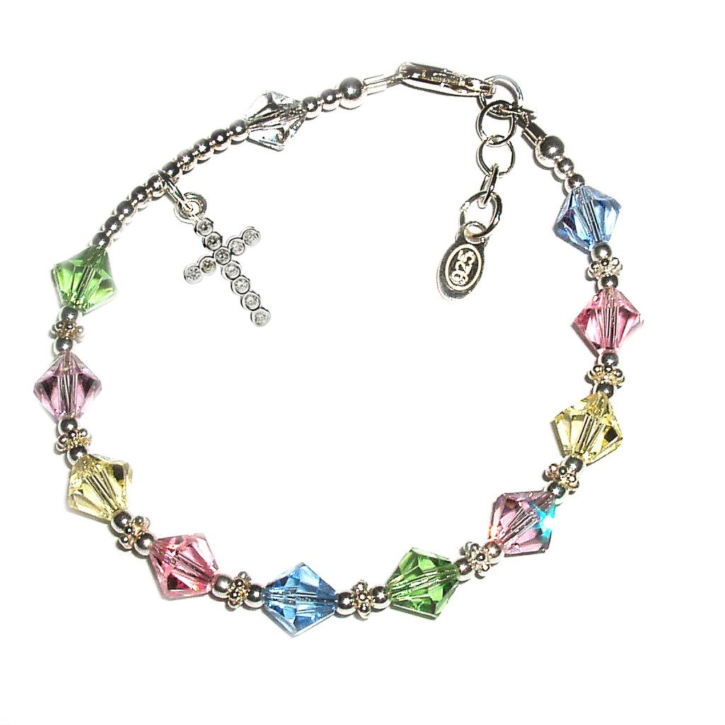 Children's Sterling Silver First Communion Rosary Bracelet with Swarovski Crystals and CZ Cross (6-6.5'')