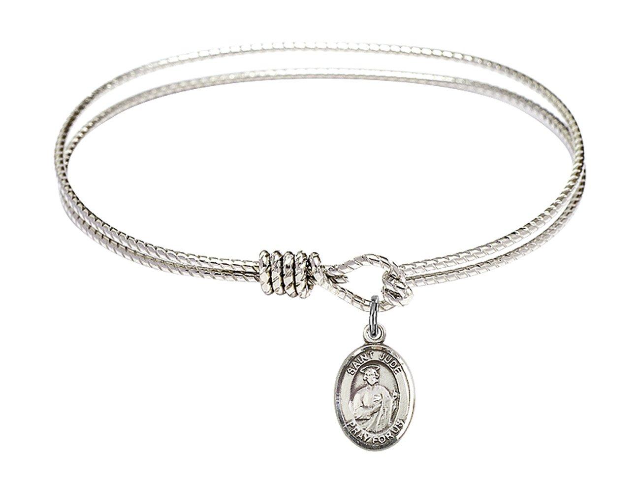 6 1/4 inch Oval Eye Hook Bangle Bracelet w/ St. Jude Thaddeus in Sterling Silver