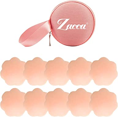 Silicone Nipple Covers 5 Pairs Womens Reusable Adhesive Invisible Pasties Nippleless Covers Round