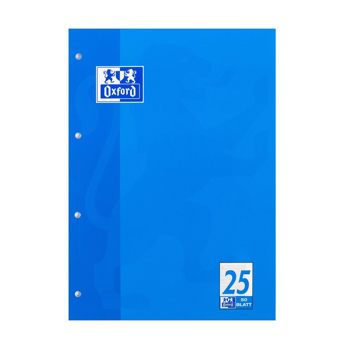 Briefblock-Schulblock A4 50Bl Lin25 liniert Rand Oxford 384405025 und 100050350, Verpackungseinheit: 10 Stück EK-Welt
