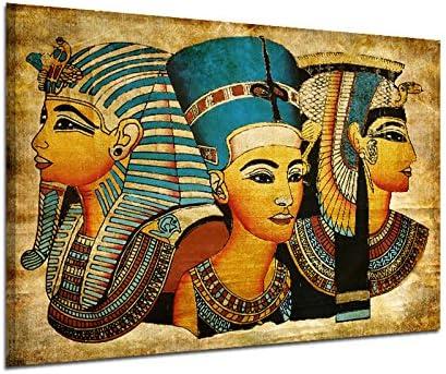 Kicode Pharaon Rétro Moderne 40 60cm Affiches D Art D Egypte Peinture Murale Image D Huile Pleine Figure Décor De La Maison De Salon
