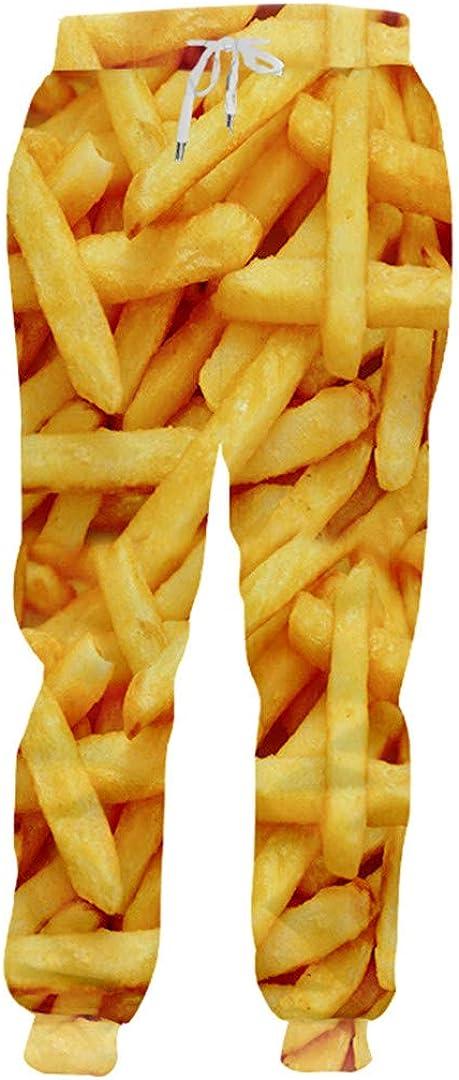 Jogger Pants Men Loose Food 3D Sweat Pants Print French Fries Chips Streetwear Plus Size Sweatpants