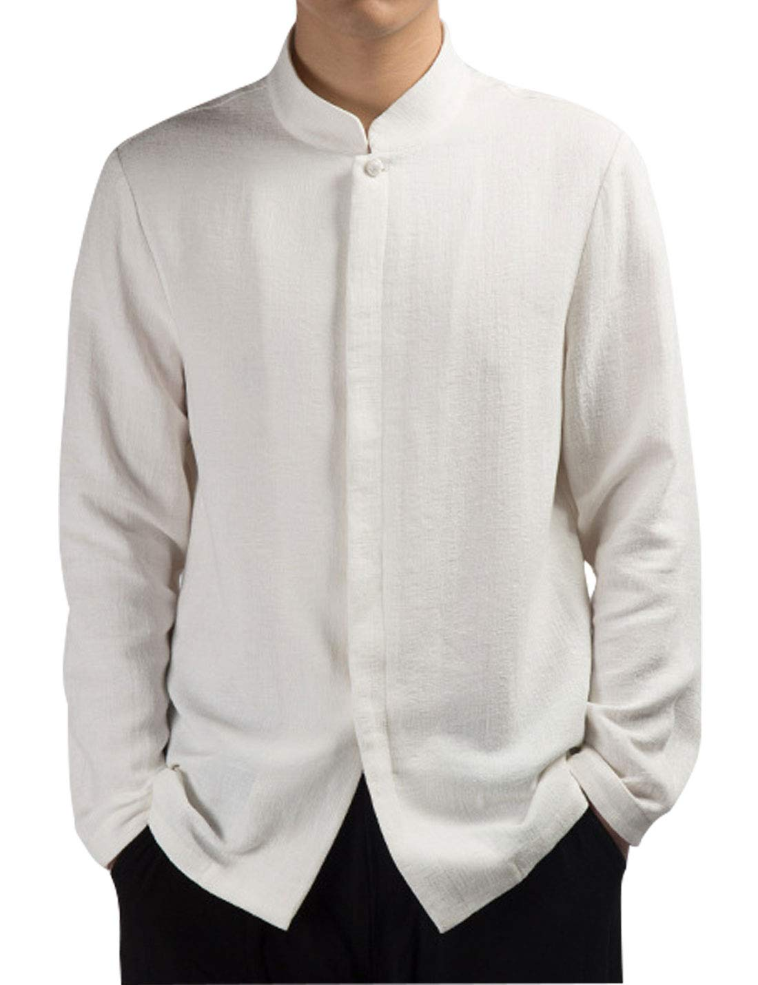 Omoone Mens Long Sleeve Chinese Traditional Tai Chi Tang Suit Cotton Linen Shirt(White-L)