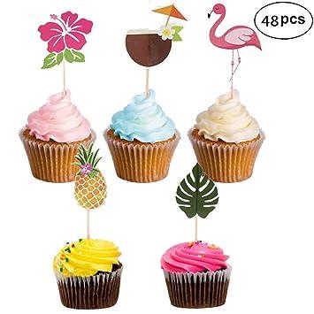 Cupcake Toppers For Hawaiian Luau Summer Flamingo Birthday Parties Cake Food Decoration Supplies Hibiscus Flowers