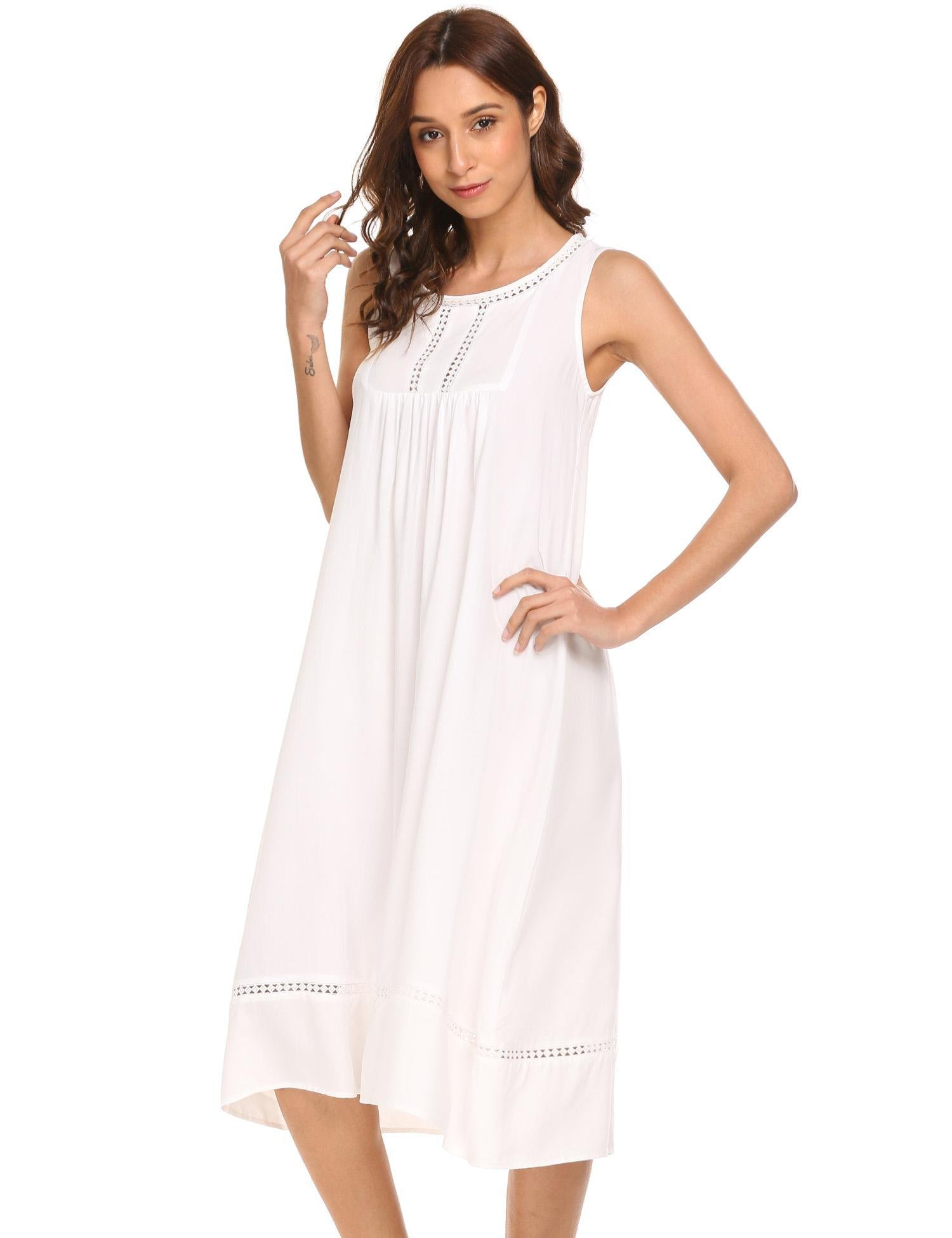 Langle Victorian Nightgowns Cotton Pajamas Women's Sleepwear Long Nighty (White, Medium)