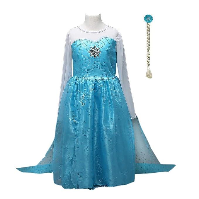 Amazon.com: FE4 Elsa vestido para niñas, disfraz para ...