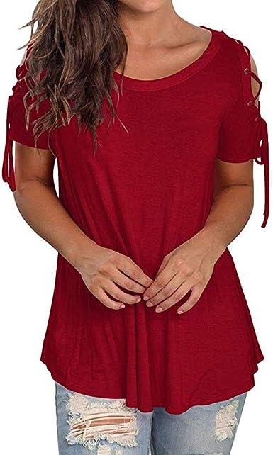 LUNULE VENMO Blusas Mujer Elegante Camisas Casual Verano Blusa de Costura de O-Cuello sólido Camisetas de Manga Corta Blusa Fiesta Mujer Casual Camiseta para Mujer: Amazon.es: Ropa y accesorios